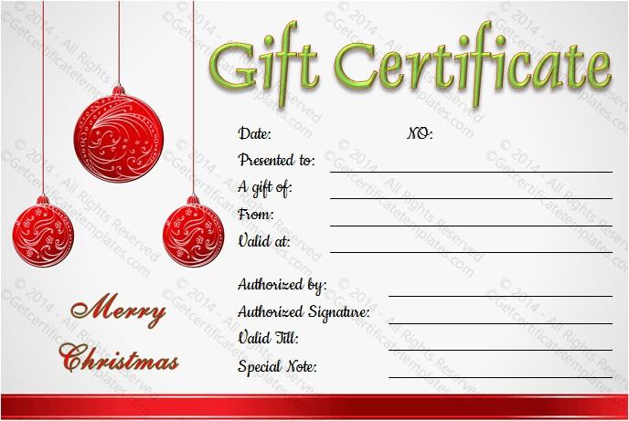 Homemade Christmas Gift Certificates Templates Christmas Balls Gift Certificate Template