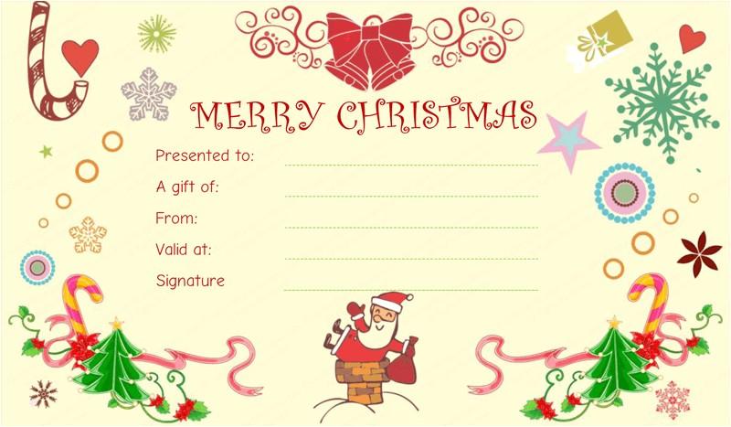 Homemade Christmas Gift Certificates Templates Christmas Fun Gift Certificate Template