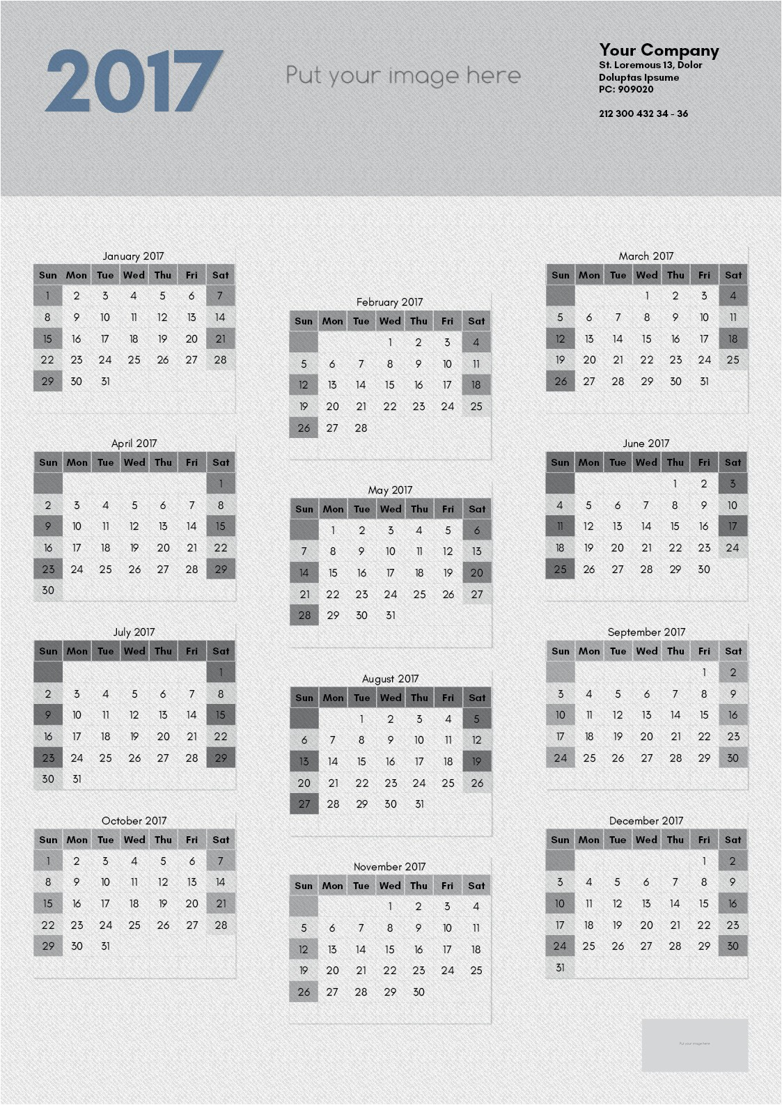 2017 calendar template indesign