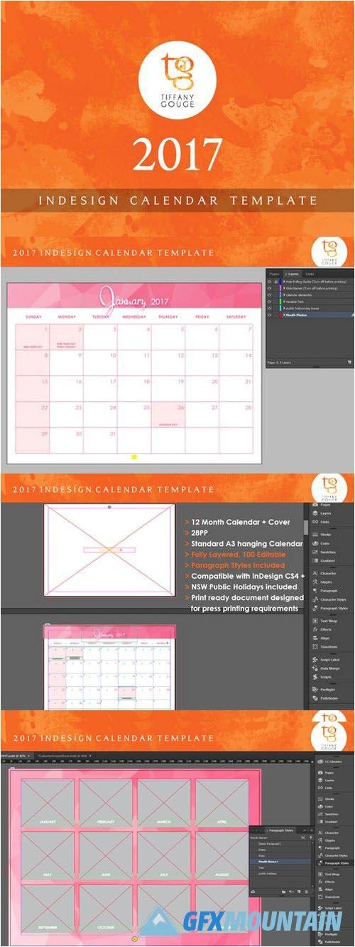 Indesign Calendar Template 2017 Indesign Calendar Template 2017 Calendar Template 2018