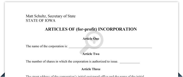 iowa articles incorporation template
