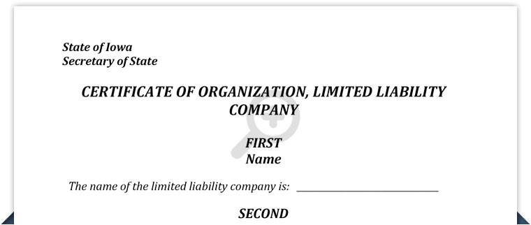 iowa llc certificate organization template