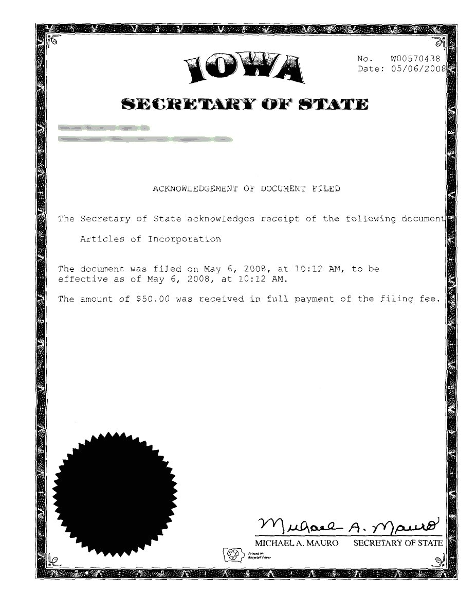 Iowa Llc Certificate Of organization Template Iowa Incorporation Registered Agent Incparadise