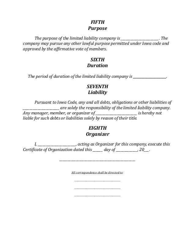 iowa llc formation document