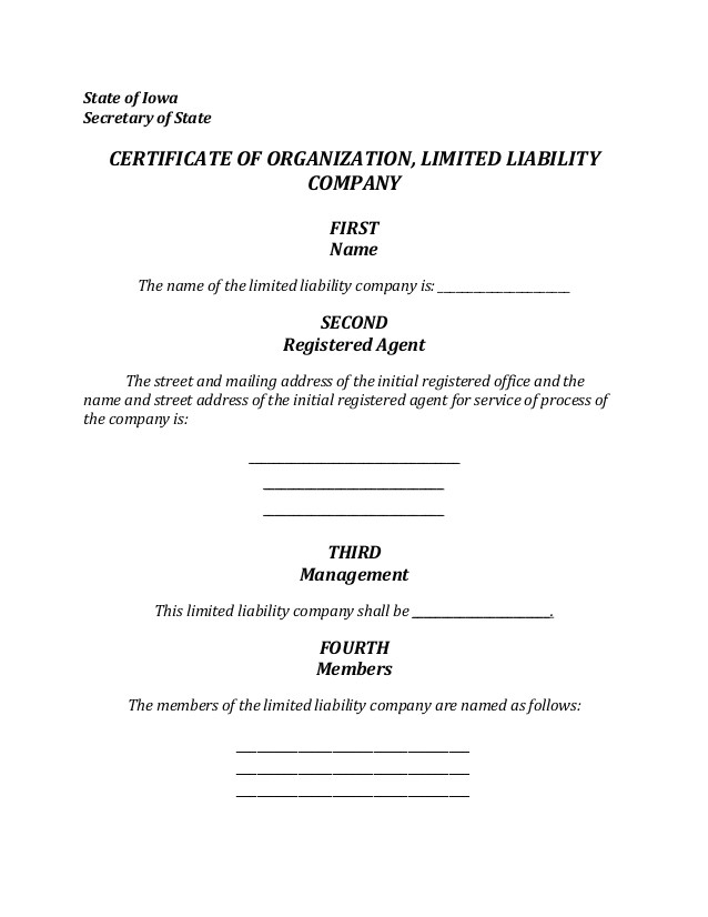 Iowa Llc Certificate Of organization Template Iowa Llc formation Document
