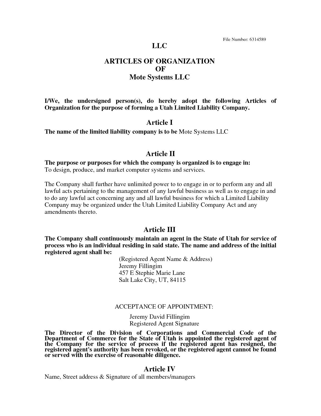 Iowa Llc Certificate Of organization Template Llc Articles Of organization Template Images