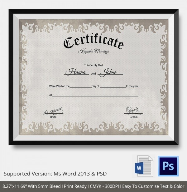 Keepsake Marriage Certificate Template 19 Marriage Certificate Templates Sample Templates