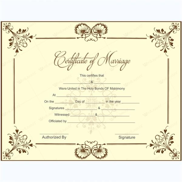 Keepsake Marriage Certificate Template Marriage Certificate 05 Word Layouts