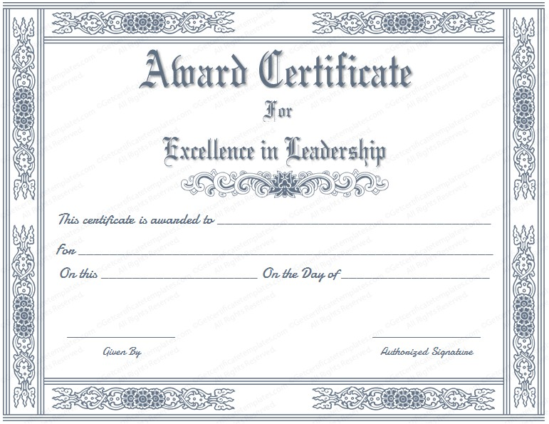 award certificate for leader of the month fr