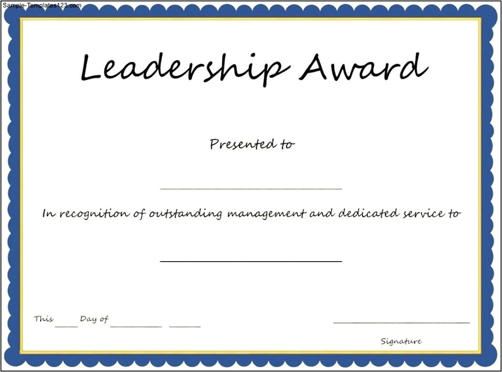 Leadership Certificate Templates Word Interesting Leadership Award Template with Blue Frame