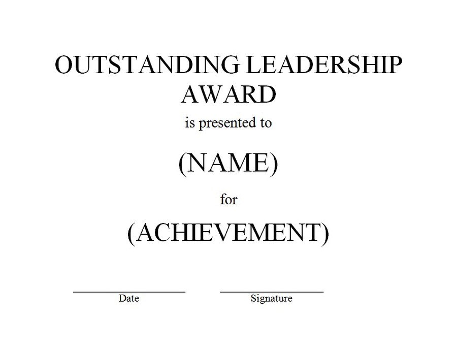 Leadership Certificate Templates Word Outstanding Leadership Award Free Word Templates