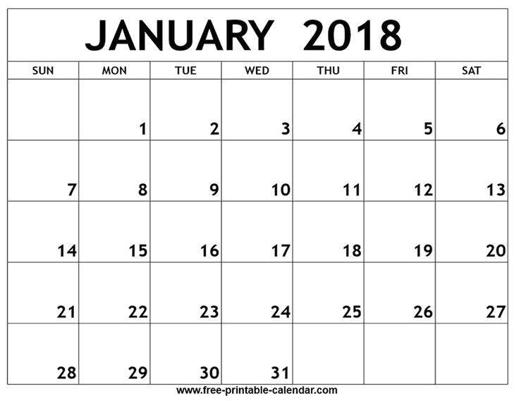 2018 calendar template printable