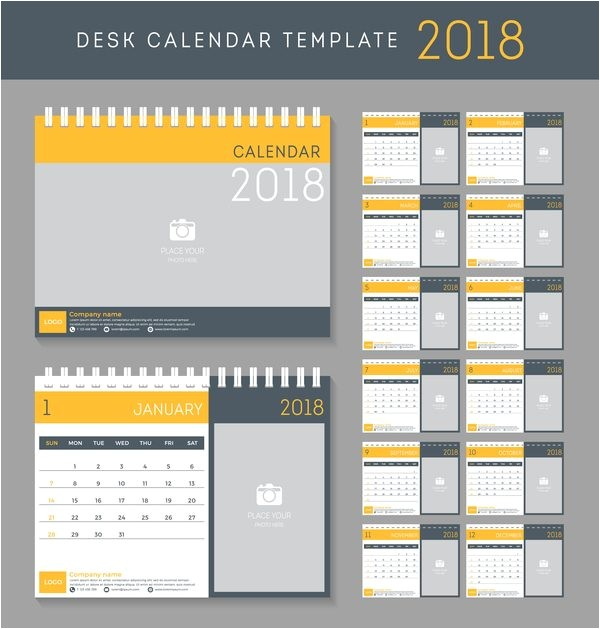 Lightroom Calendar Templates 2018 خلفيات فكتور تقويم القرص الاصفر Yellow Disk Calendar 2018