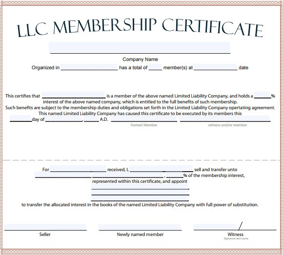 Llc Membership Certificate Template 15 Membership Certificate Templates Free Samples