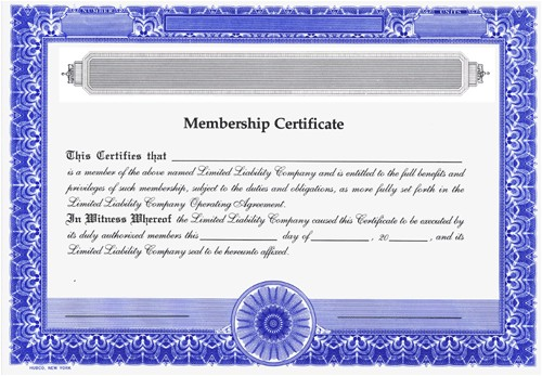 Llc Membership Certificate Template Blank Certificates Limited Liability Company General
