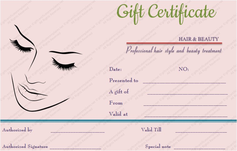 simple hair and beauty gift certificate