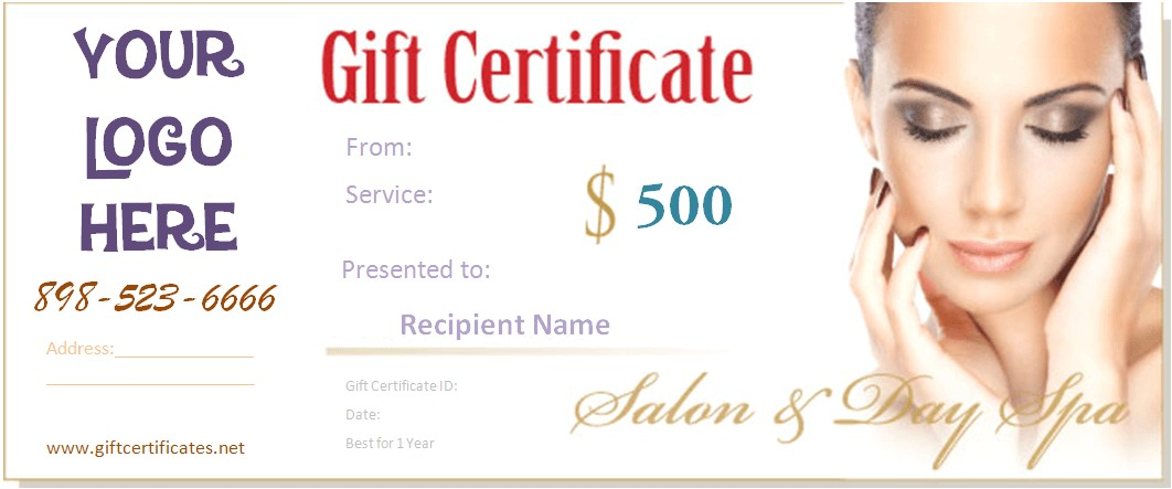 Makeup Gift Certificate Template Spa Gift Certificate Templates
