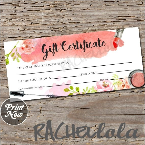 Makeup Gift Certificate Template Watercolor Makeup Gift Certificate Printable Instant