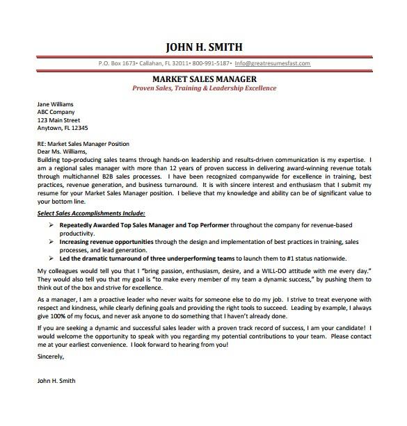 sample sales cover letter