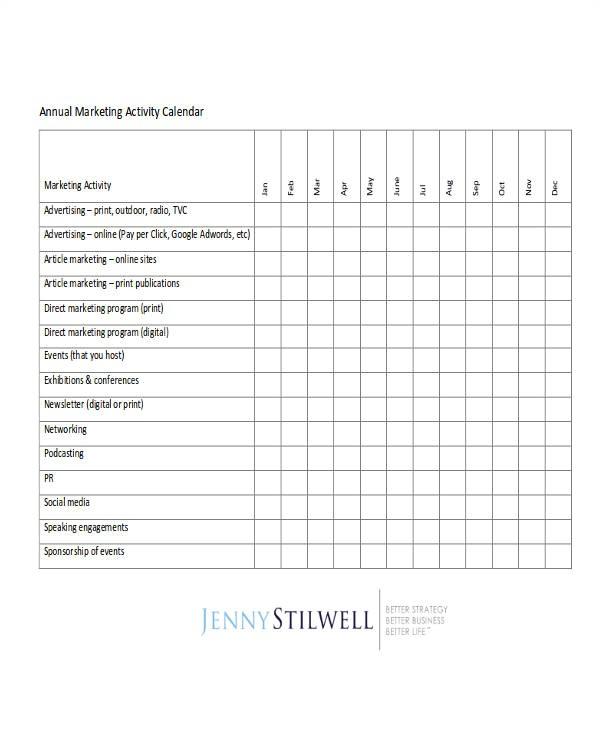 calendar template pdf
