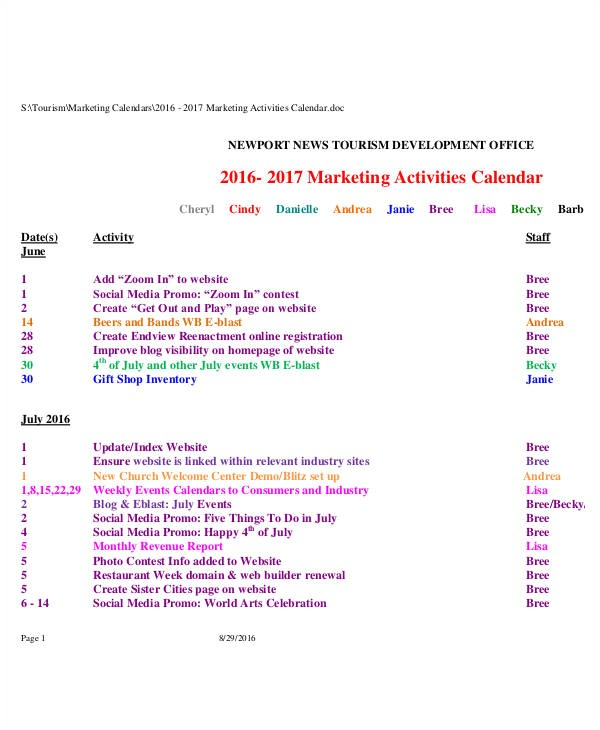 activity calendar template