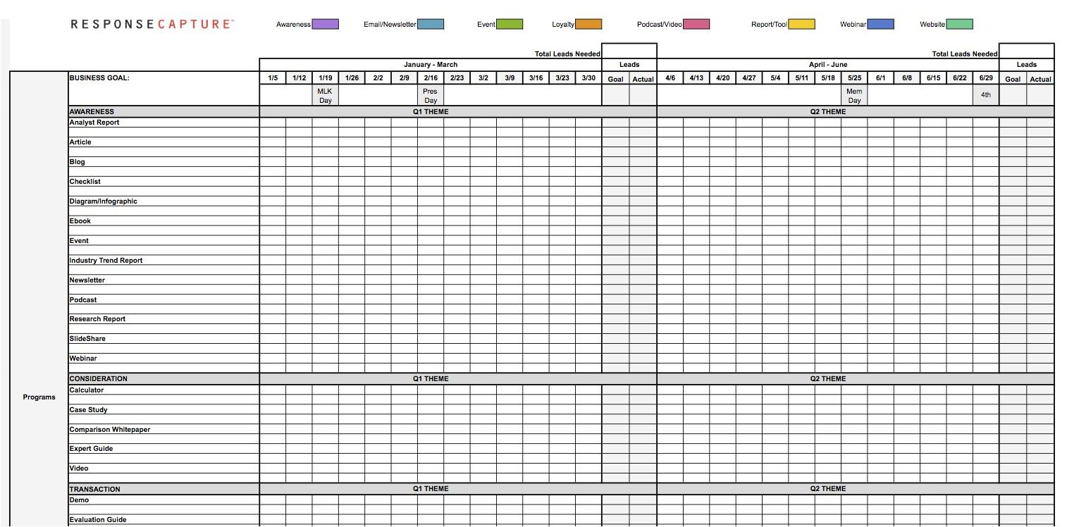 Marketing Activity Calendar Template Demand Generation Resources for Marketersresponse Capture