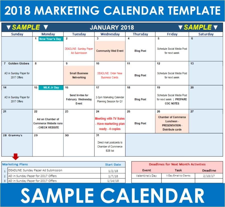 2018 marketing calendar template excel free download
