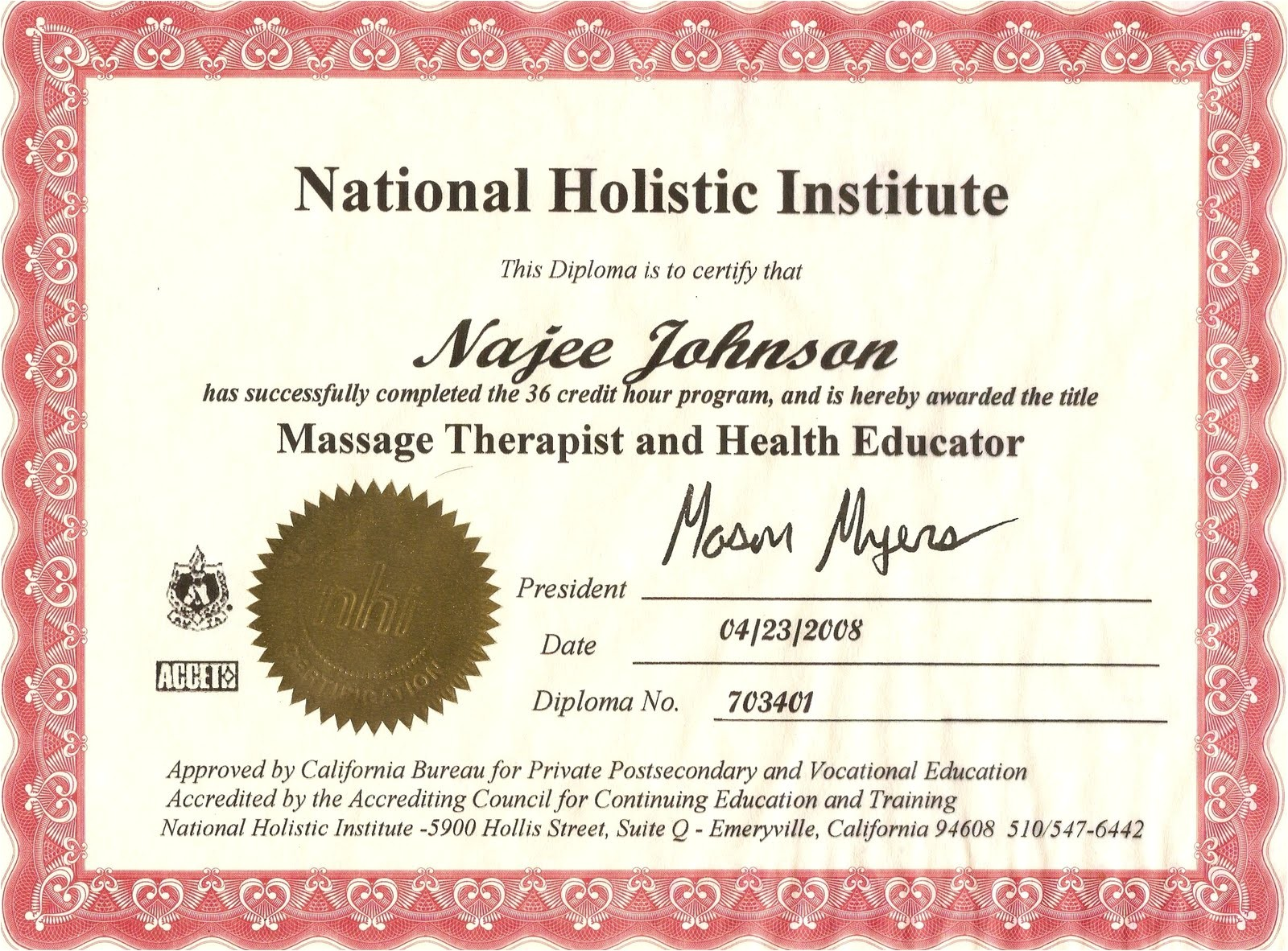 Massage Certificates Templates Free Art and touch Massage Certificate