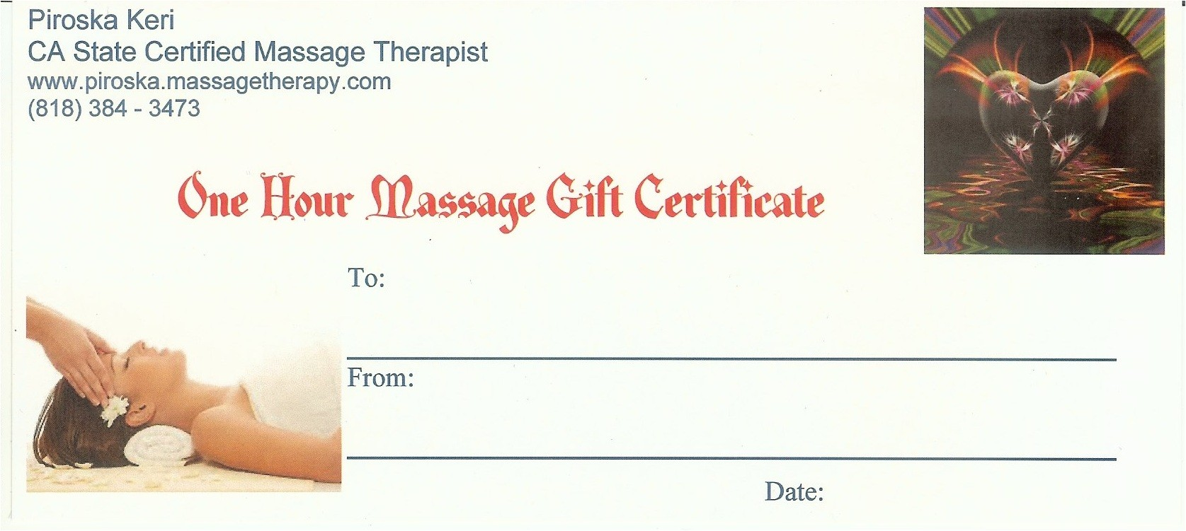 Massage Certificates Templates Free Buynow Paypal Credit Card