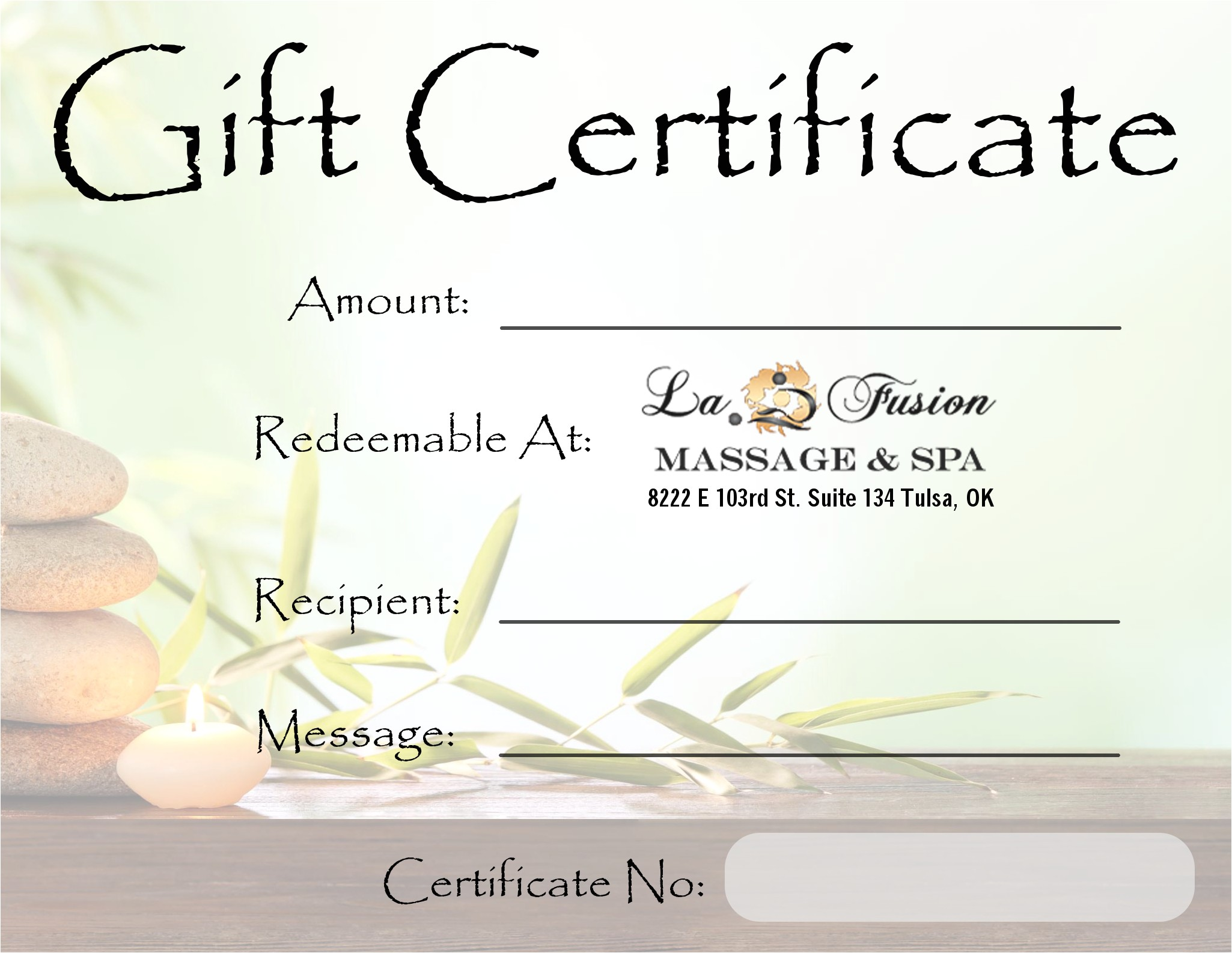 Massage Certificates Templates Free Lafusion Massage Spa Gift Certificate Tulsa Spa Gifts