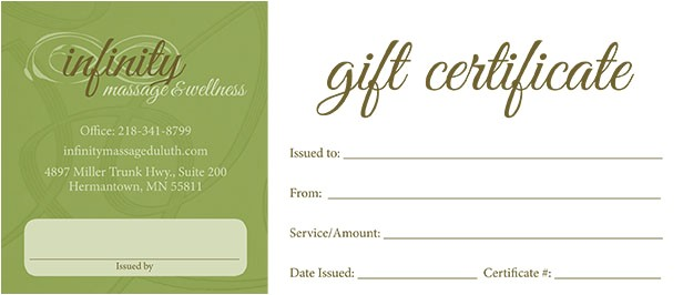 Massage therapy Gift Certificate Template Gift Certificates Infinity Massage Wellness