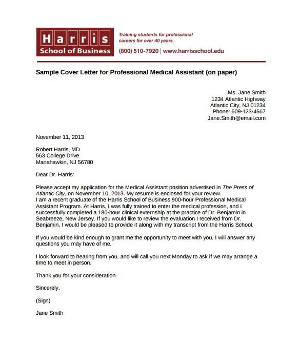medical cover letter