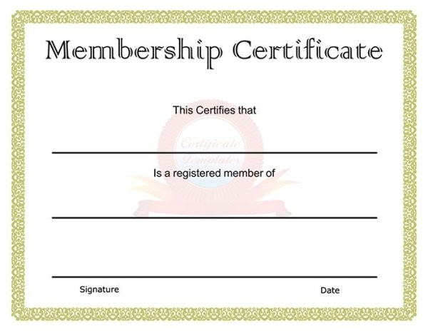Membership Certificates Templates 82 Free Printable Certificate Template Examples In Pdf