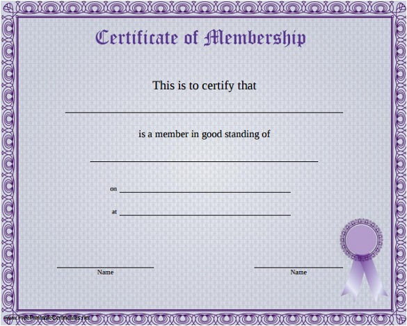 membership certificate template