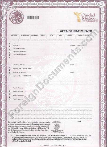 Mexican Birth Certificate Template Certified Spanish Translation Mexican Birth Certificate
