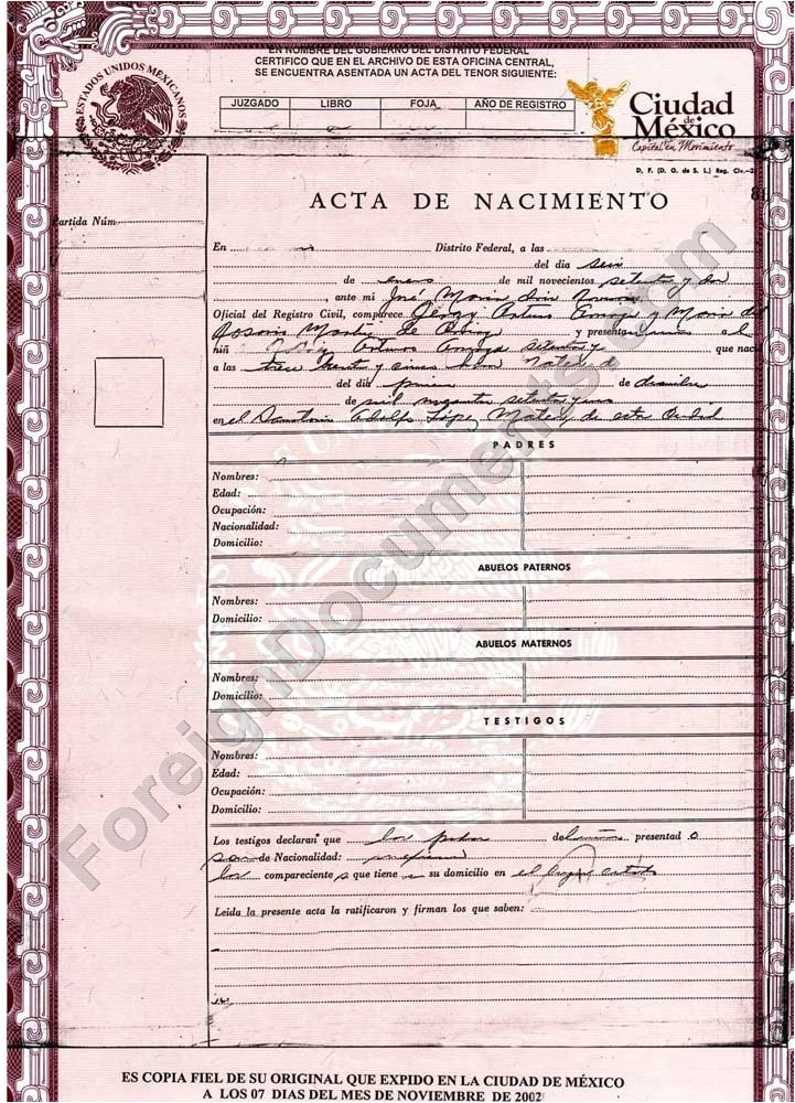 Mexican Death Certificate Template Certified Spanish Translation Mexican Birth Certificate