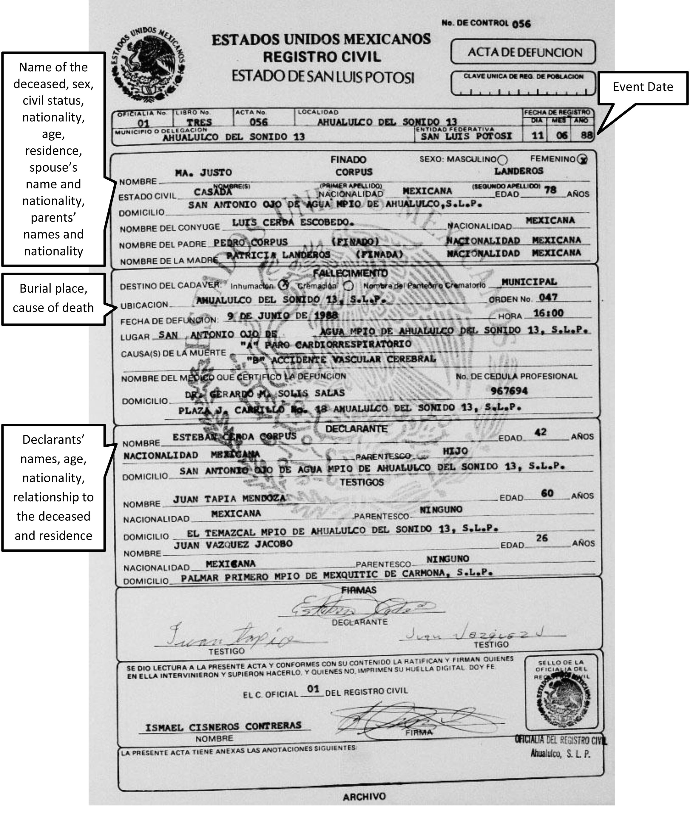Mexican Death Certificate Template Death Certificate Template In Spanish Images Certificate