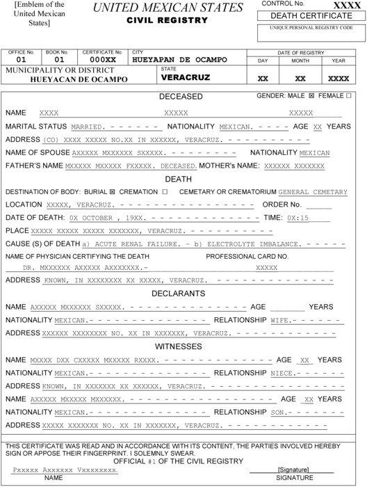 Mexican Death Certificate Template Templating as A Strategy for Translating Offici Meta
