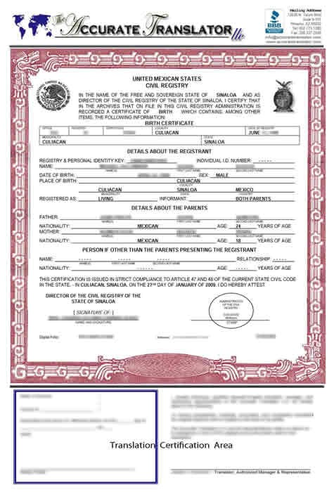 birth certificate translation template mexico