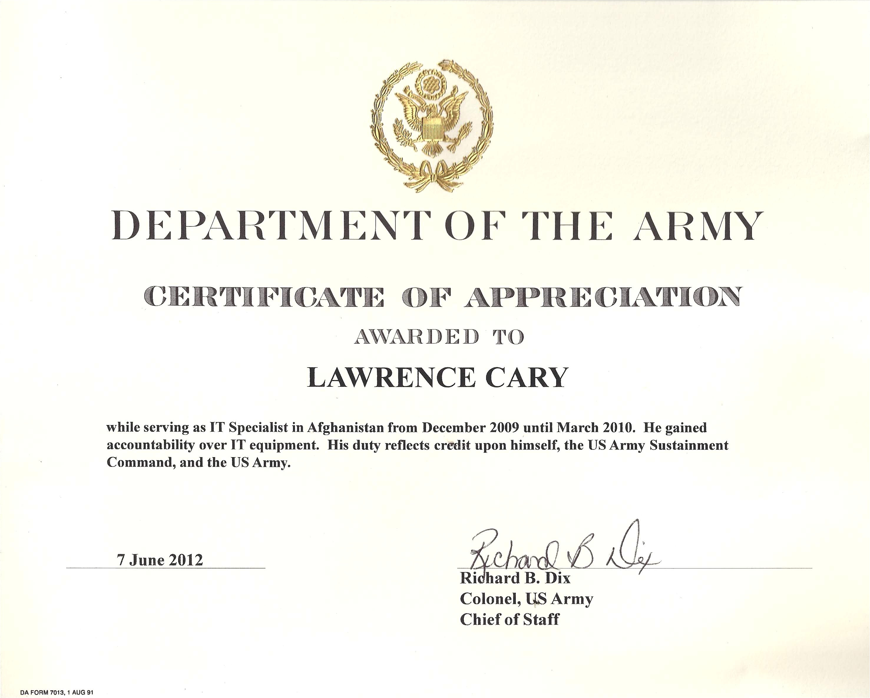army certificate of appreciation template example
