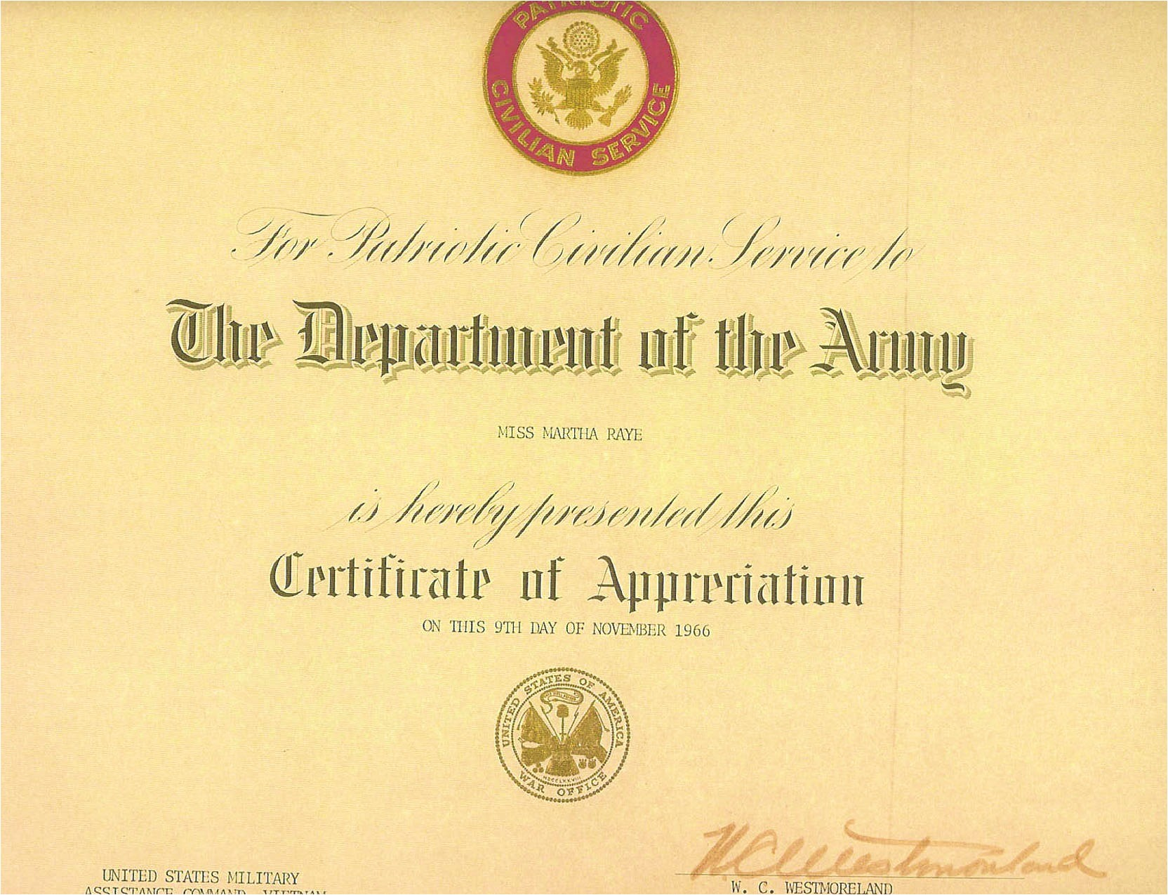 awards department of the army certificate appreciation for patriotic civilian service along with actual citation which shows date as being 18 19