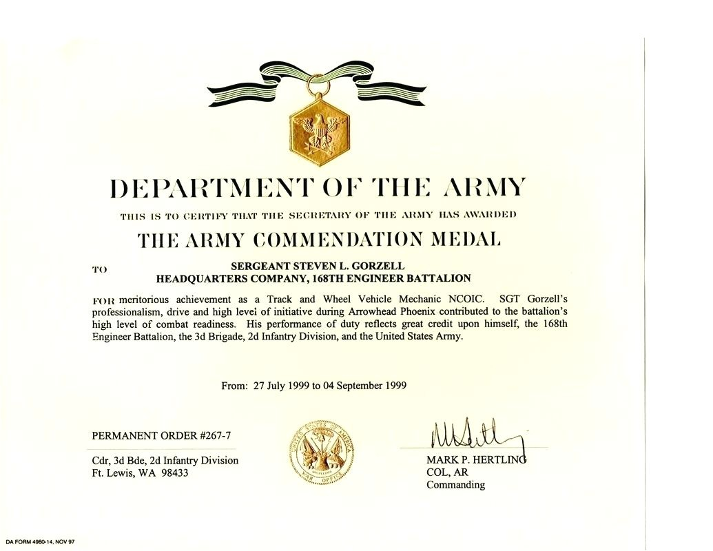 gold medal certificate template army achievement gallery templates military award format
