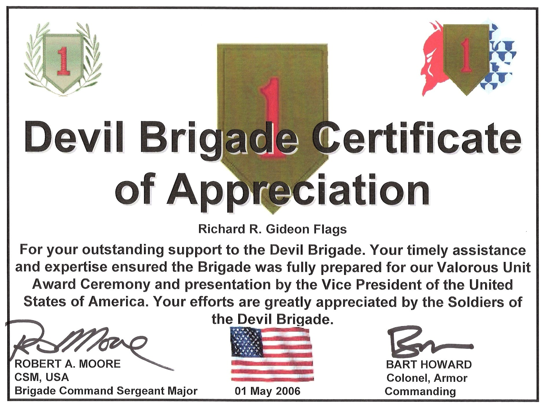 army certificate of appreciation example