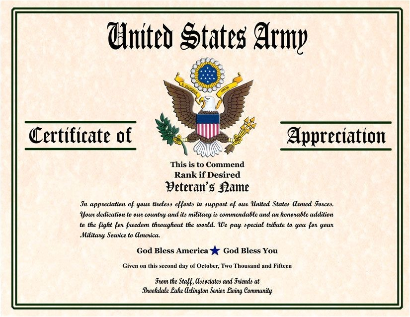 Military Certificate Templates Military Veterans Appreciation Certificates Veterans Day