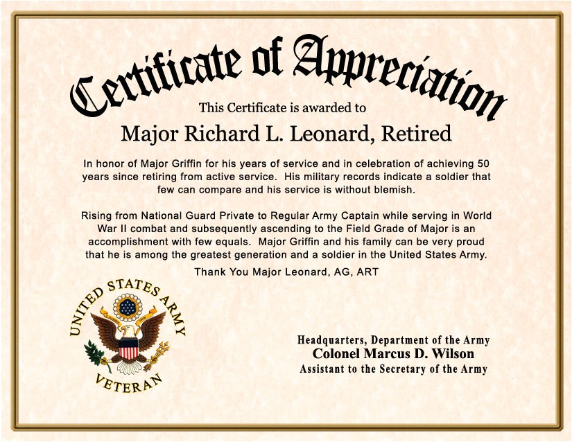 Military Flag Certificate Template Certificate Of Retirement for Civilians Pictures to Pin On
