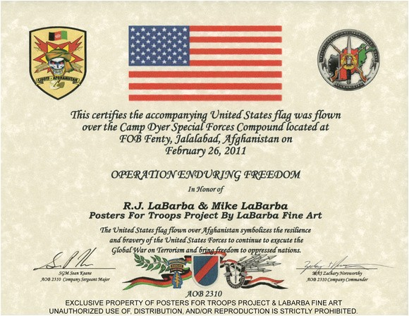 Military Flag Certificate Template Labarba Fine Art Posters for Troops Project