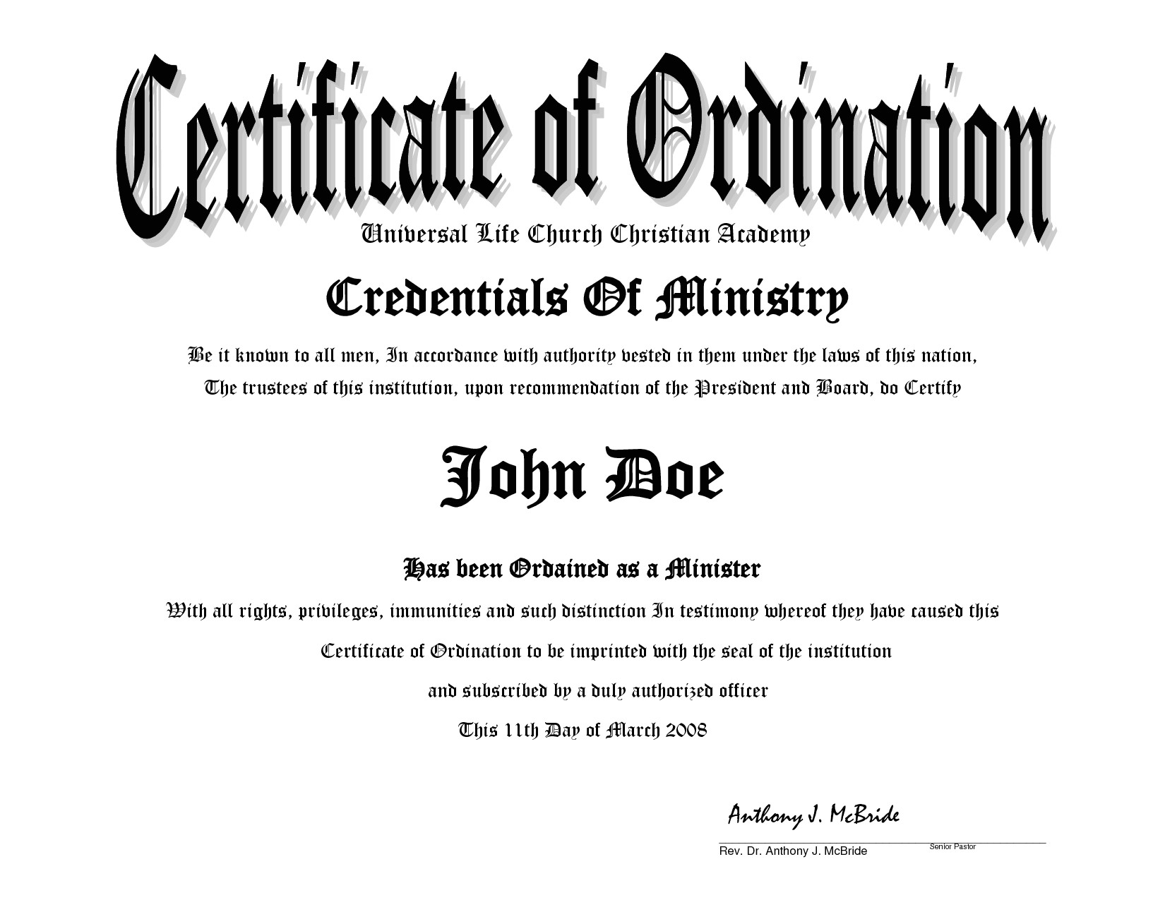 Minister License Certificate Template 10 Best Images Of Sample Ministers License Certificate