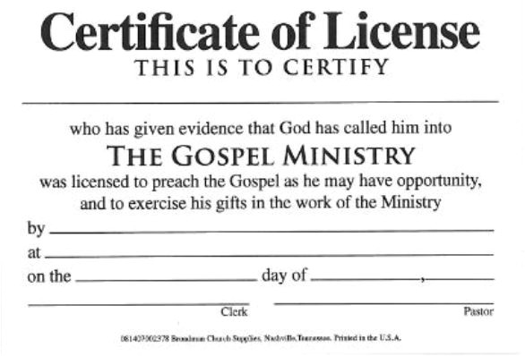 Minister License Certificate Template License for Minister Billfold Certificate License