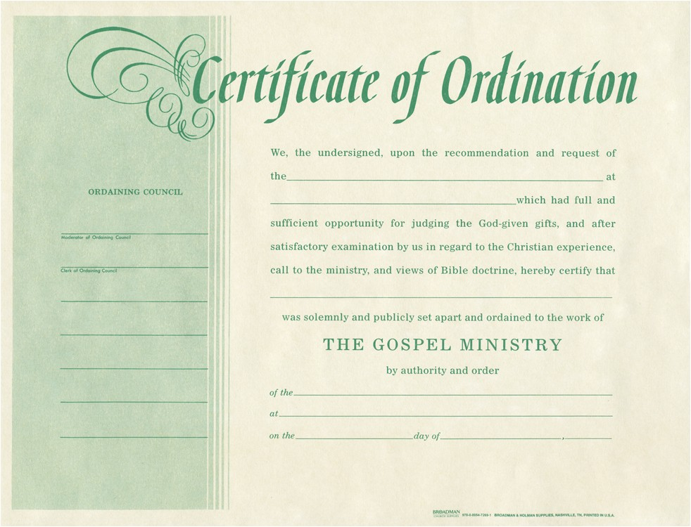Minister License Certificate Template ordination for Minister B H Publishing Group