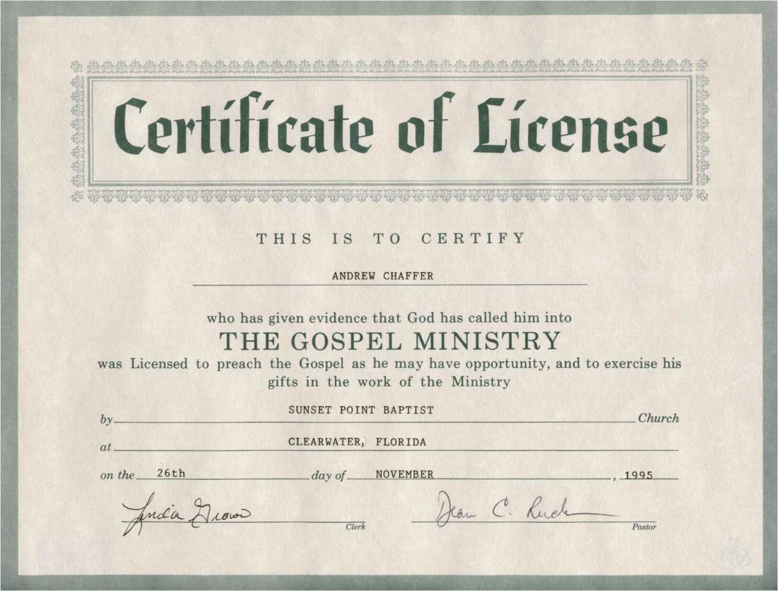 ordained minister certificate license template